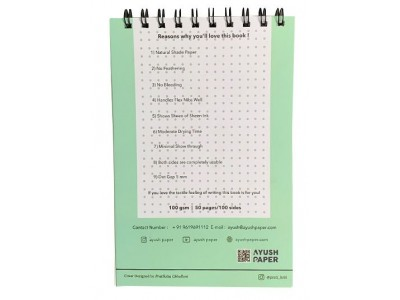Ayush Paper A5 Spiral Bound Notebook, Dotted