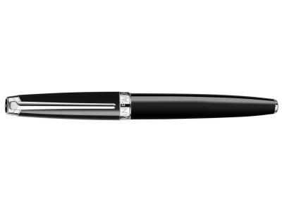 Caran d'Ache Leman Fountain Pen, Ebony Black Lacquered, Silver Plated/Rhodium Coated