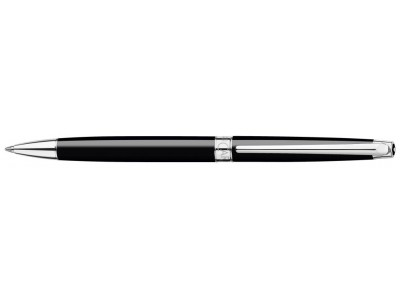Caran d'Ache Leman Slim Ballpoint, Ebony Black Lacquered, Silver Plated/Rhodium Coated