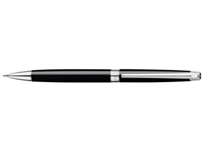 Caran d'Ache Leman Slim Pencil, Ebony Black Lacquered, Silver Plated/Rhodium Coated