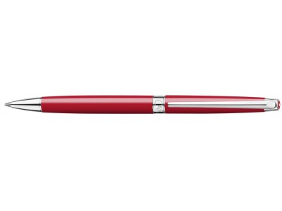 Caran d'Ache Leman Slim Ballpoint, Scarlet Red Lacquered, Silver Plated/Rhodium Coated