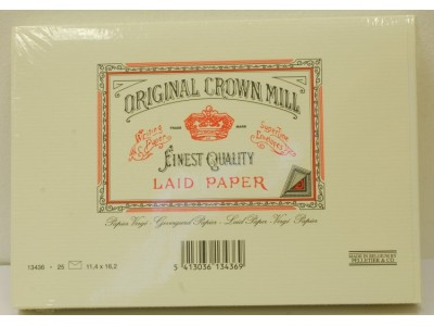 Original Crown Mill Classics Laid Paper Envelopes, Cream, C6 size for A5 sheets, per pack of 25