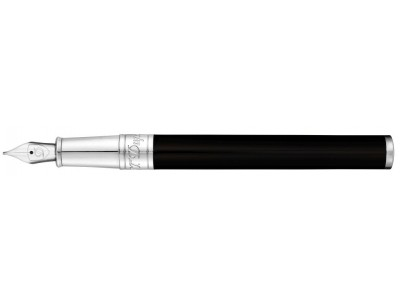 S. T. Dupont D-Initial Fountain Pen, 260203, Black and Chrome