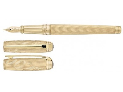 S. T. Dupont Line D Fountain Pen, 410047, James Bond Limited Edition, Guilloche Gold