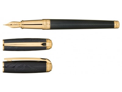 S. T. Dupont Line D Fountain Pen, 410048, James Bond Limited Edition, Guilloche Under Black Natural Lacquer and Gold