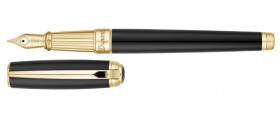 S. T. Dupont Line D Fountain Pen, 410101L, Large Black Natural Lacquer and Gold
