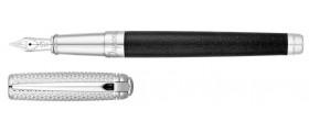 S. T. Dupont Line D Fountain Pen, 410102M, Medium Black Natural Lacquer, Silver Powder and Palladium