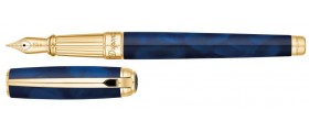 S. T. Dupont Line D Fountain Pen, 410105L, Large Atelier Blue Natural Lacquer and Gold