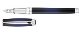 S. T. Dupont Line D Fountain Pen, 410105M, Medium Atelier Blue Sunburst Natural Lacquer and Palladium
