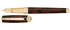S. T. Dupont Line D Fountain Pen, 410106L, Large Atelier Dark Brown Natural Lacquer and Gold