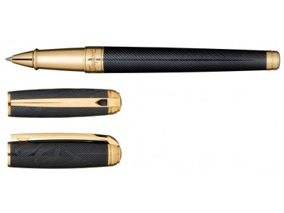 S. T. Dupont Line D Rollerball, 412048, James Bond Limited Edition, Guilloche Under Black Natural Lacquer and Gold