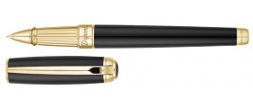 S. T. Dupont Line D Rollerball, 412101L, Large Black Natural Lacquer and Gold