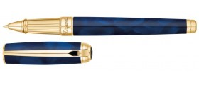 S. T. Dupont Line D Rollerball, 412105L, Large Atelier Blue Natural Lacquer and Gold