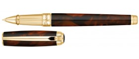 S. T. Dupont Line D Rollerball, 412106L, Large Atelier Dark Brown Natural Lacquer and Gold