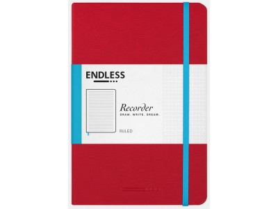 Endless Recorder Notebook, Crimson Sky, Ruled
