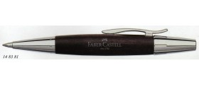 Faber-Castell Design E-Motion Ballpoint, Chrome and Pearwood, Dark Brown