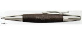 Faber-Castell Design E-Motion Ballpoint, Chrome and Pearwood, Black
