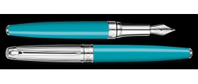 Caran d'Ache Leman Fountain Pen, Bicolour Turquoise Silver Plated/Rhodium Coated/Godron Guillichage