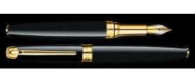 Caran d'Ache Leman Fountain Pen, Ebony Black Lacquered, Gold Plated