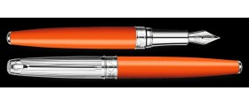 Caran d'Ache Leman Fountain Pen, Bicolour Saffron Silver Plated/Rhodium Coated/Godron Guillichage