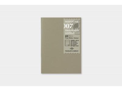 Traveler's Company (Midori) Notebook Refill, Passport Size, 007 Free Diary (Weekly)