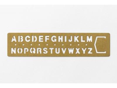 Traveler's Company (Midori) Brass Bookmark Stencil, Alphabet