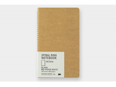 Traveler's Company (Midori) Spiral Ring Notebook, A5, Blank MD Paper, White