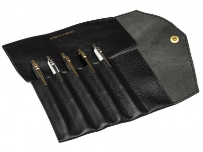 P.A.P. Fiffi Leather Pen Wrap For 6 Pens, Black.