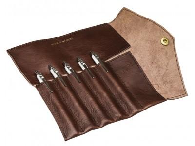 P.A.P. Fiffi Leather Pen Wrap For 6 Pens, Brown.