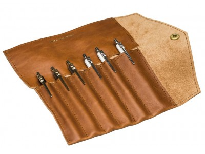 P.A.P. Fiffi Leather Pen Wrap For 6 Pens, Tan.