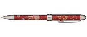 Sailor Yu-bi Maki-e Multifunction Pen, Kanzashi (Floral Hairpins), Red