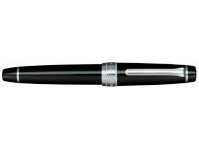 Sailor King Professional Gear Fountain Pen, Black with Silver Accents