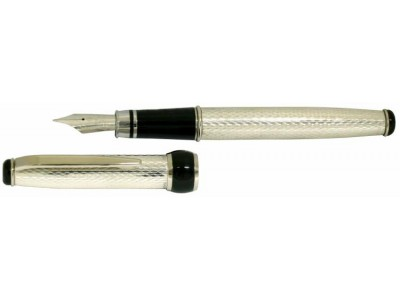Via Roma Sterling Silver Fountain Pen, Barleycorn