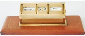 AC576 Metal Desktop Perpetual Calendar with a Leather Base