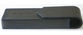 MG019 Montegrappa Black Leather Pen Case for 2 Pens, boxed