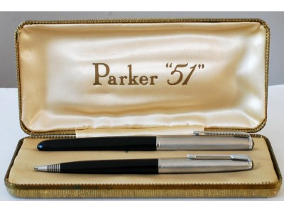 PA2606 Parker 51 Aerometric Fountain Pen and Pencil Set, boxed (Generous Medium)