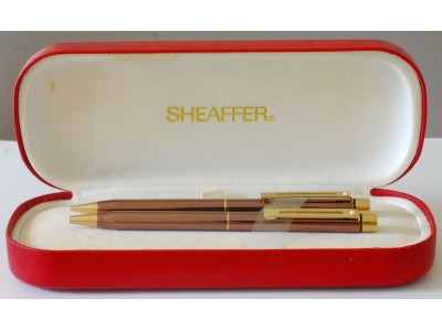 SH1547 Targa by Sheaffer No. 1068 Metallic Copper Ballpoint and Pencil Set, boxed.
