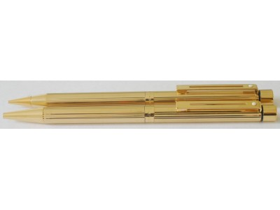 SH1560 Targa by Sheaffer No. 1005 Ballpoint Pen and Pencil Set, Fluted Gold Plate.