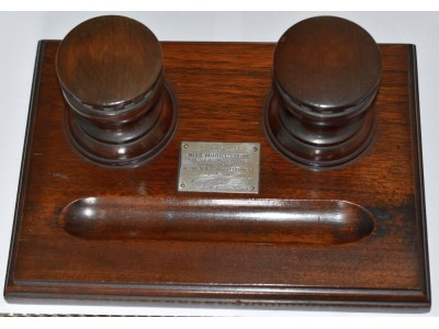 AC597 Oak Double Inkwell in the form of a Ship's Capstan