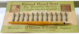 MS671 Carded Set of 12 Mitchell Round Hand Pens with Holder.