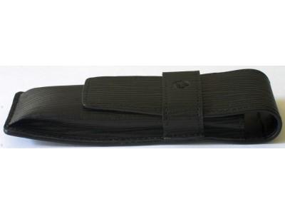 PE064 Pelikan Black Leather Pen Case for 2 Pens, boxed